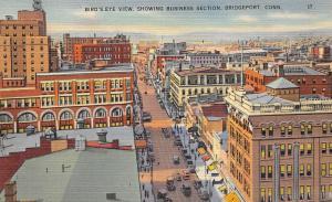 Bridgeport Connecticut 1940s Linen Postcard Birdseye View Business Section