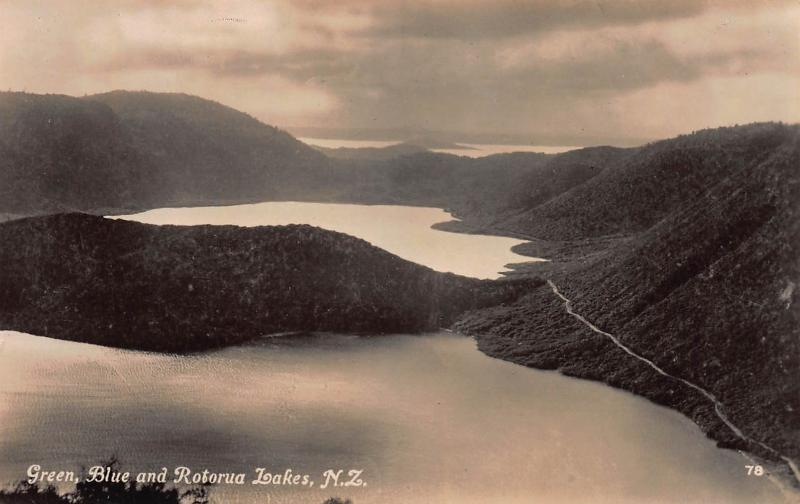 Green, Blue and Rotorua Lakes, New Zealand, Early Real Photo Postcard, Unused