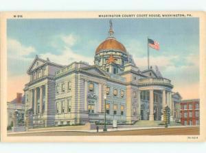 Unused Linen COURT HOUSE Washington Pennsylvania PA n4521