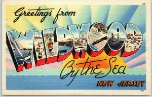 WILDWOOD-By-the-Sea Large Letter Postcard Beach Scene Tichnor Linen 1940s Unused