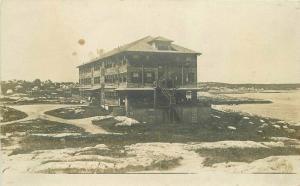 c1910 Northeast New England Large Seaside Hotel Cove Inlet RPPC Photo Postcard