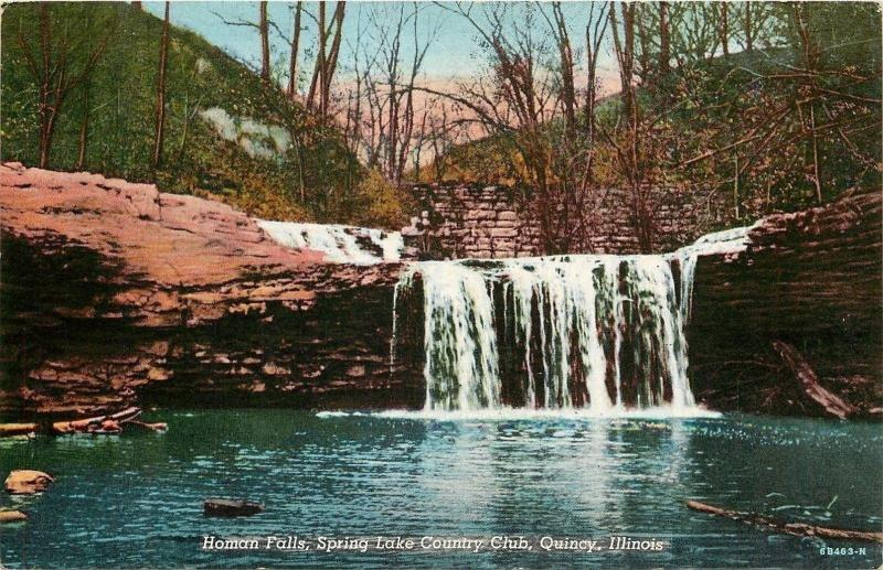 Quincy Illinois~Homan Falls~Spring Lake Country Club~1946 Linen Postcard