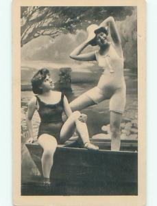Pre-Linen Risque SEXY WOMEN TOGETHER IN SMALL ROWBOAT AB6149