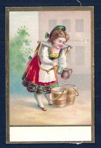 VICTORIAN TRADE CARD Girl Gathering Water