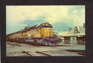 WY Union Pacific Railroad Train Station Engine 3737 Evanston Wyoming Postcard