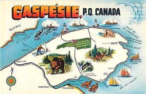 Gaspesie Quebec Canada Chrome Map Postcard