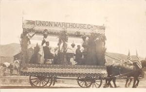 D29/ Perrysville Ohio Real Photo RPPC Postcard c'10 Parade Float Union Warehouse