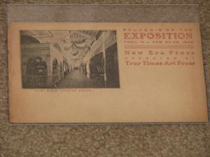 Souvenir Card of Expo, Troy, N.Y. Feb 20-25, 1905, unused vintage card, worn