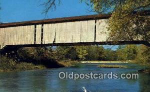 Mansfield, Parke Co, IN USA Covered Bridge Postcard Post Card Old Vintage Ant...