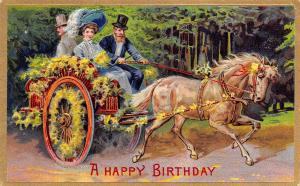 Victorian Greetings~Lady & Gent in Horse Drawn Buggy~Yellow Flowers~Emboss~1911