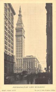 New York Metropolitan Life Building Tower Street Vintage Cars Postcard