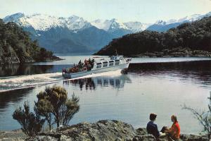 New Zealand Lake Manapouri M V Fiordlander Cruising Cathedral
