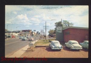 FLAGSTAFF ARIZONA DOWNTOWN STREET SCENE ROUTE 66 1950's CARS VINTAGE POSTCARD