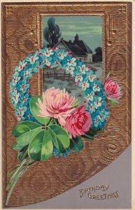 Birthday Greetings Metallic Flower Wreath 1912 Postcard B34