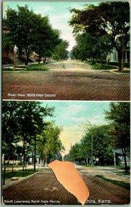 Wichita, Kansas Postcard w/ Lawrence & Riverview Street Scenes - 1909 Cancel
