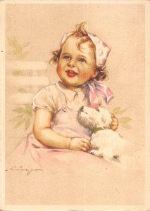 US4833 Little Girl Dog, Chien Postcard