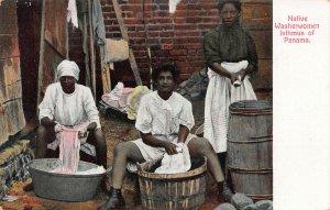 Black Native Washerwomen, Isthmus of Panama, Early Postcard, Unused