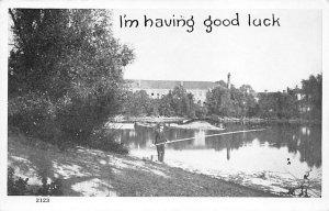 Fishing Postcard Man Fishing From a Stream Unused