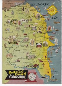 Post Card illustrated map North & East Riding of Yorkshire