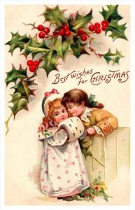 Christmas,  victorian  children at fence