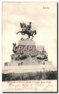 Old Postcard Monumento al principle Amedeo di Savoia Duca d Aosta Torino