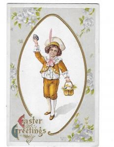 Easter Greetings Cute Little Boy in Victorian Clothing with EAster Basket c1910