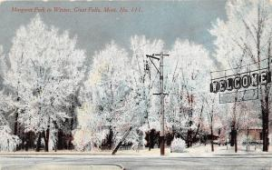 C76/ Great Falls Montana Mt Postcard c1910 Margaret Park In Winter Welcome Sign