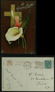 Easter series E 1704 Tuck calla lily pmk  1909