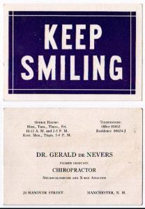 Calling Card - Dr Gerald De Nevers Chiropractic, Manchester