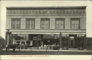 St. Charles MN JJ Speeter's General Store c1910 Postcard - STOREFRONT