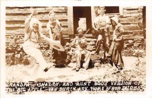 Arkansas AR Postcard VAN BUREN Bob Burns 40s RPPC Log Cabin Grandpa Snazzy