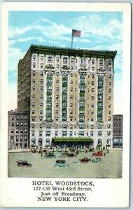 New York City Postcard HOTEL WOODSTOCK West 43rd Street Scene c1930s Unused