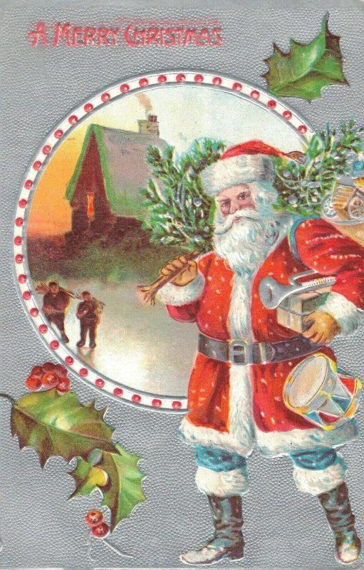 A Merry Christmas Santa Claus Embosses Postcard 03.75