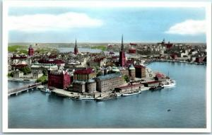 1953 Stockholm Sweden RPPC Postcard View from City Hall Tower Hand-Colored Photo