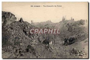 Old Postcard Crozant Overview of Ruins