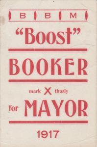 Boost BOOKER for Mayor , HAMILTON , Ontario, Canada, 1917
