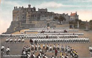 Scotland, UK Old Vintage Antique Post Card Castle Parade Edinburgh Unused