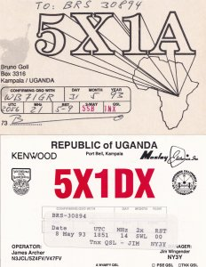 Kampala Uganda 2x QSL Amateur Radio Card s