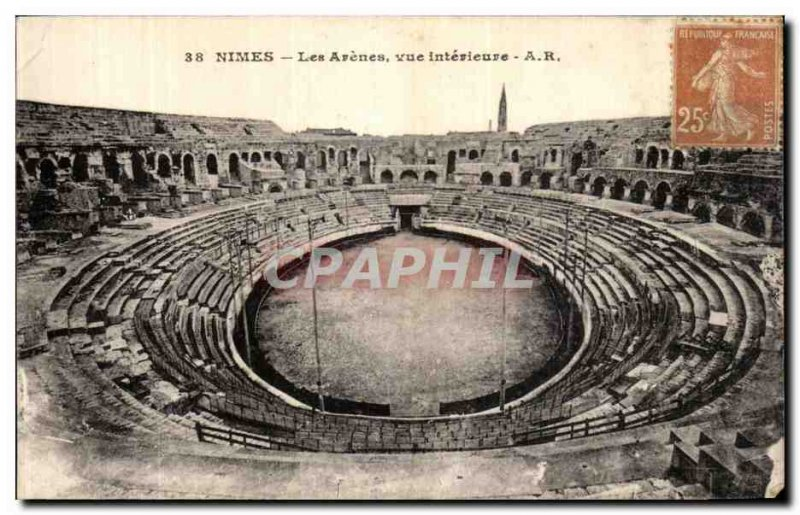 Old Postcard Nimes Les Arenes Inside view