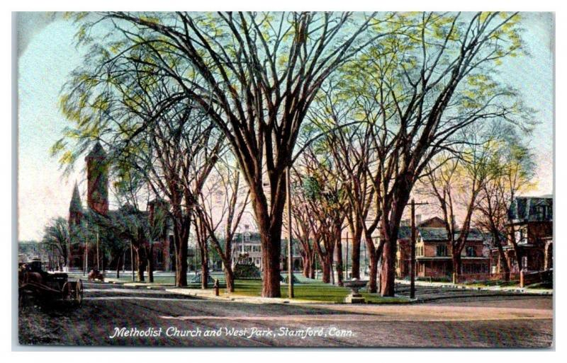 Methodist Church and West Park, Stamford, CT Postcard
