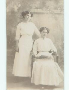 old rppc WOMEN POSING Studio In Avoca New York NY i6904