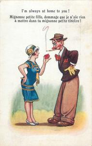 Comic couple caricatures lady matchbox & red nose drunk man cigarette smocker