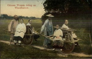 China  Chinese Women Riding on Wheelbarrow - Publ in Shanghai c1910 Postcard