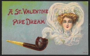 A St Valentine Pipe Dream Pipe & Pretty Lady in Smoke Used c1911
