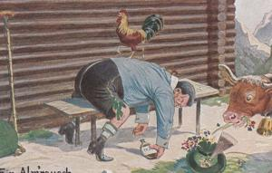 French Alcoholic Farmer Drunk On Bench By Cow Antique Comic Humour Postcard