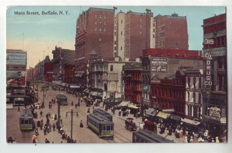 P1065 unused busy main street scene trollies store signs buffalo new york