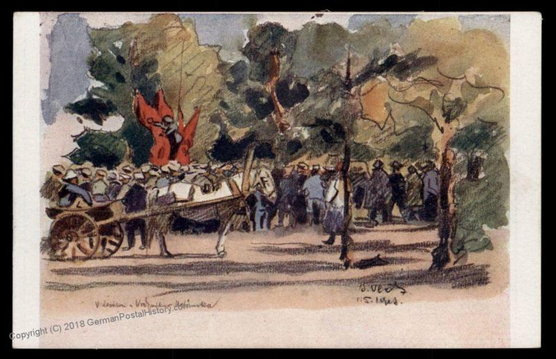 Czech Legion in Russia WWI Verchnie-Udinsk Soldier Artist Signed Patriotic 90325