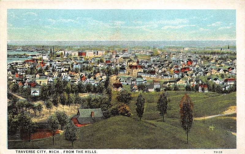 Traverse City Michigan Aerial View from Hills~Street-Church-Houses-Fields~1928