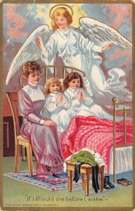 Victorian Mother & Girls Pray Psalm 4~If I Should Die Before I Wake~Angel~Emboss