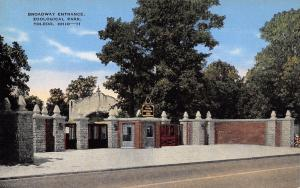 Toledo Ohio~Broadway Entrance To Zoological Park~1940 Postcard